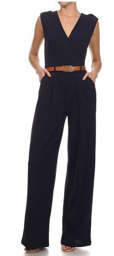 """TARA"" Dressy Belted Jumpsuit"