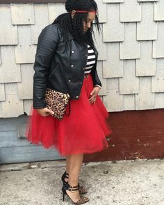 Red tulle skirt. Strip shirt. Black leather jacket. Leopard heels. @so.modestly.chic