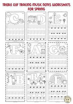 A set of 26 music worksheets {Spring themed} is created to help your students learn to trace, copy, color and draw notes on the staff {Treble pitch}. {C first – A second octaves}. Music Theory Piano, Music Theory Lessons, Music Lessons For Kids, Piano Lessons, Piano Music, Piano Keys, Piano Songs For Beginners, Music Notebook, Music Worksheets
