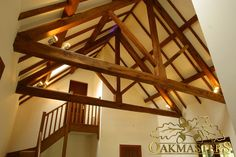 King post trusses and open vaulted ceilings - Oakmasters Roof Trusses, Roof Structure, Vaulting, Sunroom, Beams, Vaulted Ceilings, Porch, Stairs, King