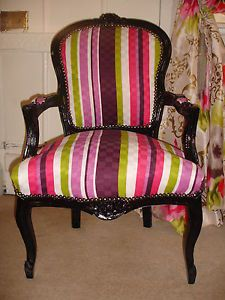 FRENCH LOUIS SHABBY PINK/LIME/BLACK/ STRIPE CHIC CHAIR @Rachel Franks PARLOUR WOW! | eBay