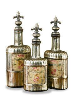 Rouen Antique French Fleur De Lis Mercury Glass Bottle Set