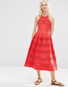 ASOS Cotton Midi Sundress With Lace Inserts