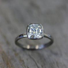 Cushion cut in bezel setting. Stunning and elegant. #bezel #ring #diamond