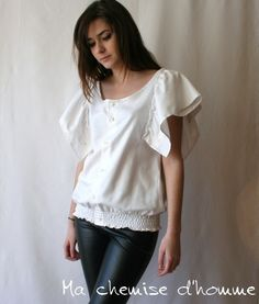 Beautiful feminine top made out of an upycled white man's shirt, by machemisedhomme, $75.00