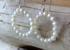 Pearl Eternity Hoop Earrings, Sterling Silver Freshwater Cultured Pearl Hoop Earrings, White Pearl Hoop Earrings, Bridal by WaterRhythmGems on Etsy