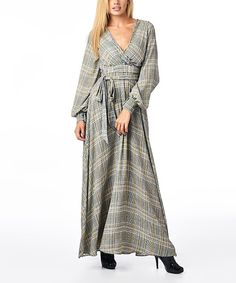 Look at this Gray Plaid Tie-Waist Surplice Maxi Dress on #zulily today!