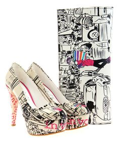 Another great find on #zulily! White & Black City Girl Pump & Clutch by Goby #zulilyfinds