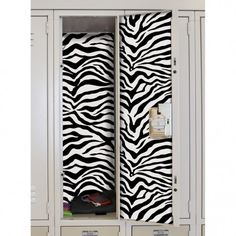 Quick & Easy #DIY for #BackToSchool. Black & White Zebra Locker Wall Decals from RoomMates Decor.