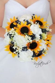 This is a stunning wedding bouquet made with white peonies and sunflower with navy blue accents Yellow Wedding Flowers, Flower Bouquet Wedding, Rose Wedding, Dream Wedding, Wedding Sunflowers, Bridal Flowers, Wedding Shoes, Wedding Rings, Wedding Dresses