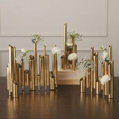 Global Views - Multi Pipe Vase Brass Med - Alchemy Fine Home