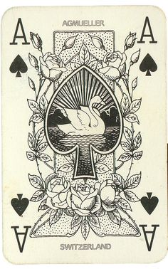 Vintage, Swiss, Playing Card with Roses and Swan. Ace of Spades.~