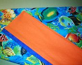 Magic Pillow Case - Tropical Fish in the Sea with Orange Cuff and Blue Trim