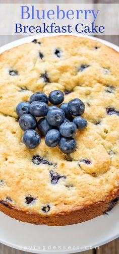 Blueberry Breakfast Cake - perfect for breakfast, brunch or a light dessert. #blueberry #breakfast #brunch #blueberrycake #brunchcake #blueberrybreakfastcake #cake #baking #recipe #blueberryrecipe #coffeecake #blueberrycoffeecake