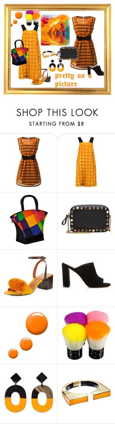 """ORANGE DREAM"" by cynthiahawthorne ❤ liked on Polyvore featuring Moschino, Rochas, Charles Jourdan, Valentino, Mercedes Castillo, Stuart Weitzman, Topshop and Alexis Bittar"