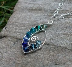 Handmade Sterling Silver Wire Wrapped Swarovski Crystal Spiral Pendant