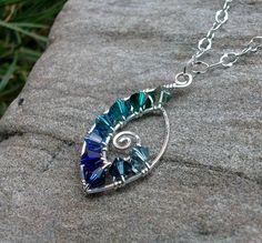 Handmade Sterling Silver Wire Wrapped Swarovski Crystal Spiral Pendant