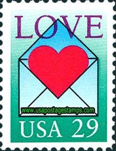 29c Heart in Envelope. Greetings Stamp 1992