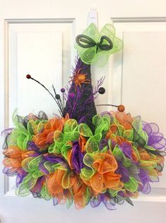 Excited to share this item from my shop: Halloween Witches Hat Door Hanger Pumpkin Mesh Wreaths, Halloween Mesh Wreaths, Diy Halloween Decorations, Holiday Wreaths, Holiday Crafts, Outdoor Decorations, Fall Crafts, Holiday Ideas, Deco Mesh Crafts