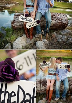 Save the date. Good idea for those who love to fish together.) love the top photo Fishing Engagement Photos, Engagement Couple, Engagement Shoots, Engagement Photography, Wedding Engagement, Wedding Photography, Fishing Wedding, Save The Date Photos, Wedding Announcements