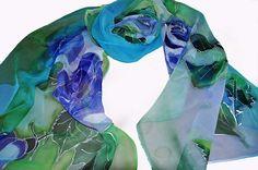 Blue roses/ Painted luxury silk scarf/ woman silk scarf/ by GABYGA