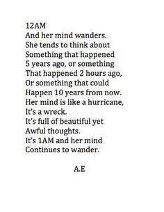 Her mind begins to wander...