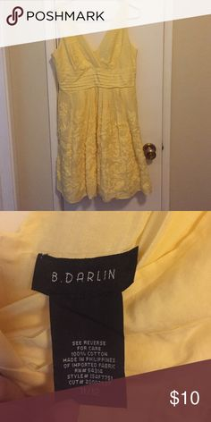 ‼️BUNDLE ME‼️Yellow Sun Dress A classy dress to wear out in the sun! It's great for a day wedding, Easter, or brunch. Zips up the back, cut modestly in the front and back. A textured pattern on the skirt, with a slight tulle layer under the skirt to add volume. Worn less than 7 times, so gently used. 100% cotton. Dresses