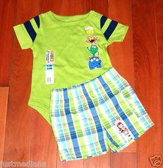 NWT - Garanimals Baby Boys Green Onesie - Matching Plaid Cargo Shorts - 6-9mo  - Re-list May 26, 2013  - Sold June 2, 2013