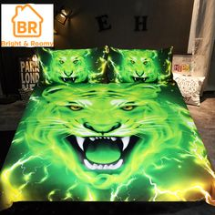 Green Tiger Bedding Set Print Duvet Cover With Pillowcases Home Textiles 3d Bedding Sets, Duvet Sets, Duvet Cover Sets, Bed Linen Design, Bed Design, Cotton Bedding, Linen Bedding, Bed Covers, Pillow Covers