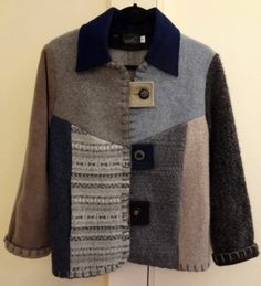 Baabaazuzu DIY Recycled Sweaters Wool Handmade Vintage buttons Jacket Size S