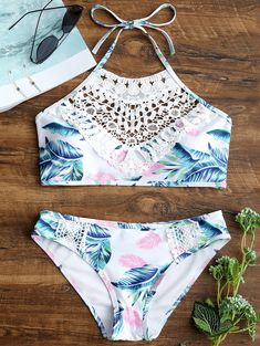 Lace Appliques Leaves Print Bikini Set Cheap Fashion online retailer providing customers trendy and stylish clothing including different categories such as dresses, tops, swimwear. Bathing Suits For Teens, Summer Bathing Suits, Swimsuits For Teens, Cute Bathing Suits, Cute Swimsuits, Cute Bikinis, Teen Bikinis, Swim Suits Bikinis, Women's Swimwear