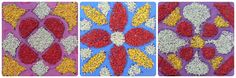 How to make rangoli with dyed rice