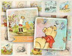 Winnie The Pooh squares image digital collage by bydigitalpaper