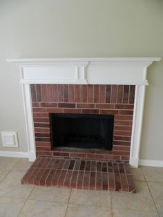 white mantle dark brick fireplace | Red Fox | Pinterest | White ...