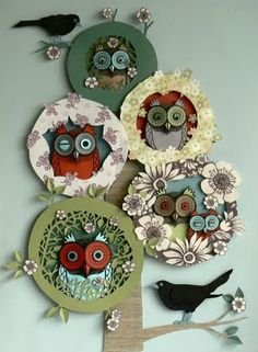 Beautiful tonal owls - loving the greens and blues with splashes of conker