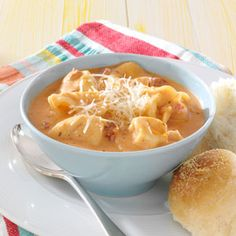 Tomato and cheese tortellini soup.