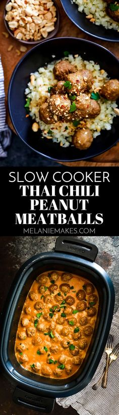 These Slow Cooker Thai Chili Peanut Meatballs take just five minutes to prepare and are the delicious answer to getting dinner on the table quick! #slowcooker #crockpot #meatballs #peanutbutter #easyrecipe #easydinner