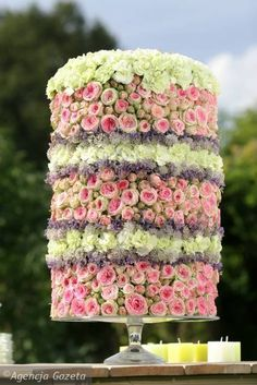 Floral cake - carnations, pink roses truss, purple sea lavender and Astrantia