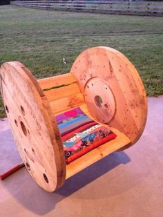 i am now on the hunt for cable drums instead of pallets haha - DIY Cable Drum Rocking Chair