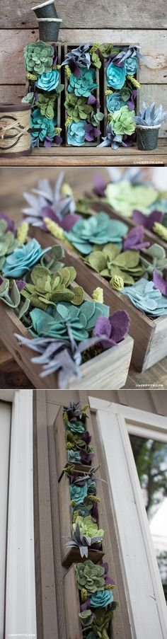 Felt Succulent Vertical Garden is part of Felt crafts Spring - Make your own felt succulent vertical garden with this gorgeous DIY tutorial from handcrafted lifestyle expert Lia Griffith and her team Felt Crafts Patterns, Felt Crafts Diy, Felt Diy, Crafts To Make, Easter Crafts, Felt Flowers, Diy Flowers, Fabric Flowers, Paper Flowers