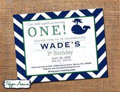 Whale Birthday Party - Navy & Green Chevron