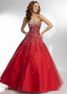 Beaded Red Sequin Corset Ball Gown Dresses 2014