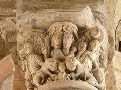 Saint Benoit, Romanesque, Green Man, Loire, Saints, Lion Sculpture, Carving, Statue, Columns