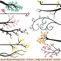 Branch Silhouettes Photoshop Brushes, Tree Silhouettes - Commercial and Personal Use. $8.00, via Etsy.