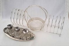 Toast rack and cruet set, silver metal rack and butter dish with salt pepper and mustard on tray. Breakfast or tea set. Housewarming gift. by NanaBarbarastreasure on Etsy