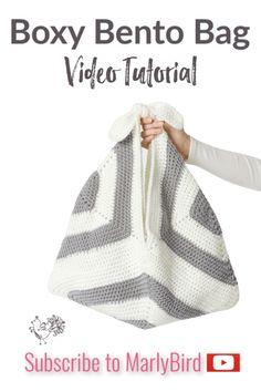 How to Crochet Boxy Bento Bag Crochet Beach Bags, Crochet Flower Hat, Crochet Market Bag, Crochet Baskets, Crochet Tote, Crochet Purses, Crochet Granny, Crochet Stitches, Crochet Patterns