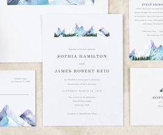 Winter Wedding Invitation Mountain Ski Resort Lodge Wedding
