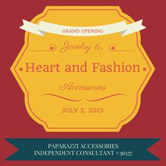 Grand Opening July 2, 2015. Follow me on Facebook to see the reveal of my inventory. Stay Tuned! #Grandopening www.facebook.com/heartandfashion5
