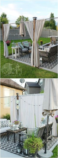 DIY outdoor privacy screen: after years of feeling a lack of privacy when hanging out on our porch, I finally came up with an idea! A cute little privacy screen that resembles the look of a pergola. Privacy Screen Outdoor, Backyard Privacy, Backyard Patio, Privacy Screens, Pergola Patio, Pergola Ideas, Backyard Ideas, Modern Pergola, Patio Ideas