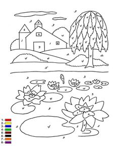 Coloring page Color by number Farm Kleur op nummer Boerderij on Kids-n-Fun.co.uk. On Kids-n-Fun you will always find the best coloring pages first!